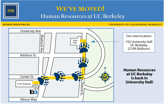 Map showing HR move to University Hall from 2150 Shattuck Ave